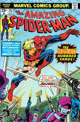 Amazing Spider-Man #153, Longest 100 yards American college football, Spidey clutches little girl as the bullets fly