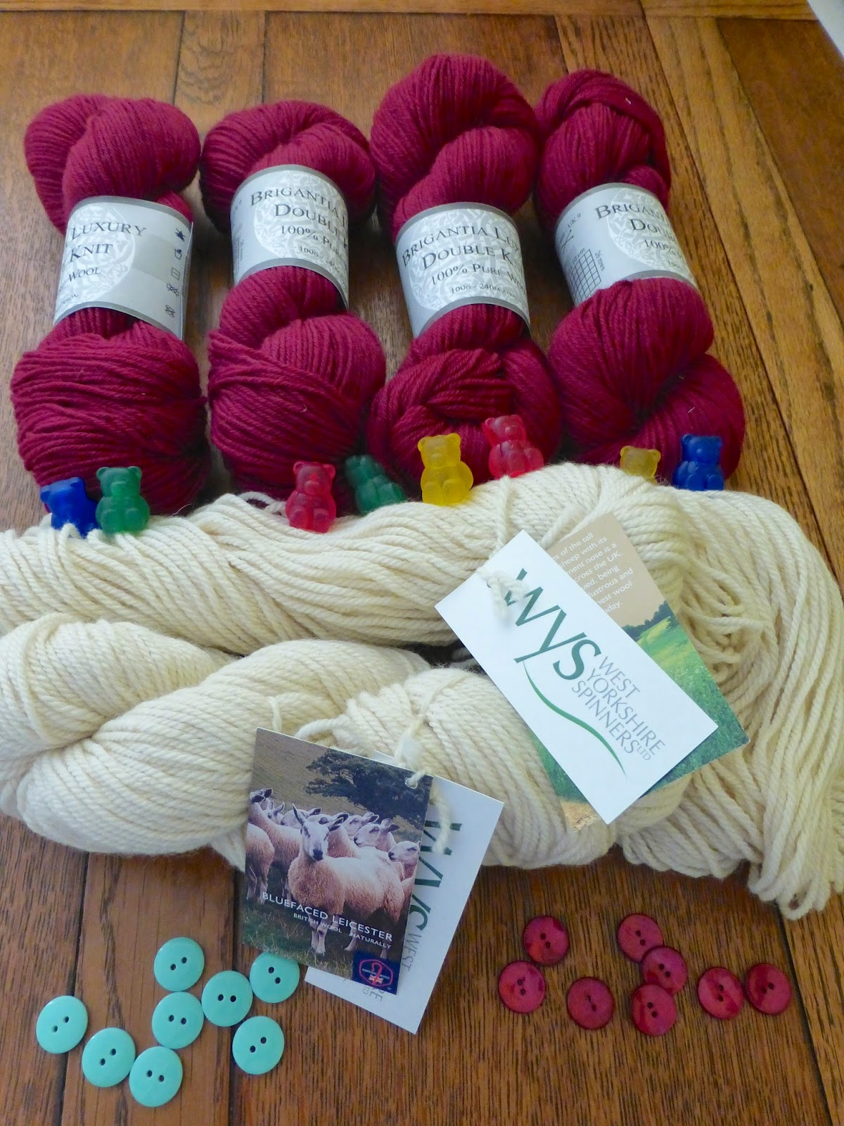 Isla of Axholme knitting blog york purchases from Duttons for buttons and Ram Shambles Brigantia wys bittond mint and red bear needle toppers