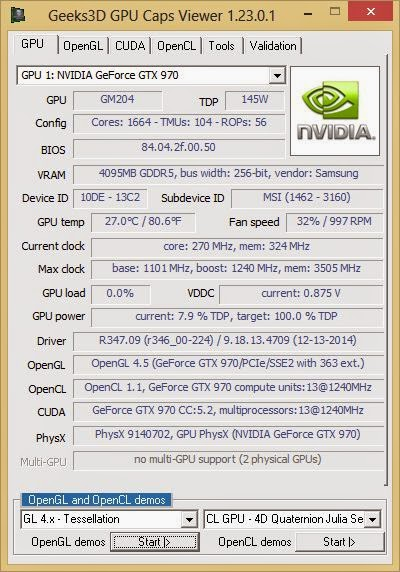 GPU Caps Viewer  OpenGL, OpenCL, CUDA APIs and graphics card / GPU information utility