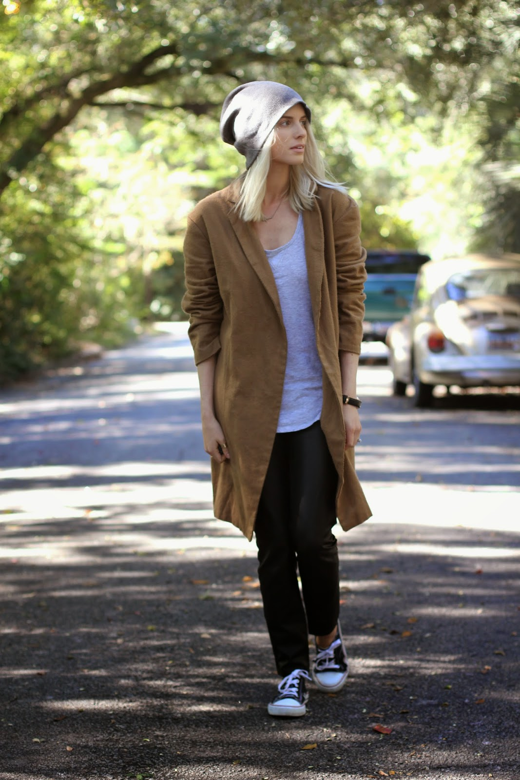 fall autumn street style 2014 charleston sc like the yogurt fashion blogger dannon k collard oversized camel coat grey gray boyfriend tank target gold sideways gross necklace daniel wellington lady sheffield watch rose gold grey skater baggie beanie platinum blonde long bob hair tan natural makeup leather pants hm converse walmart shoes cold weather outfits ootd zara