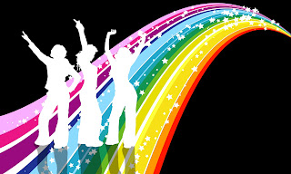 Disco image of sparkling rainbow and three sillhouetted women dancing 