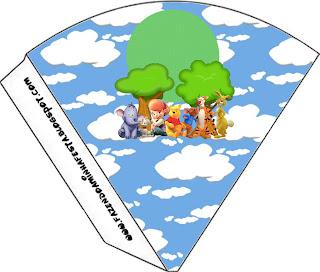 Conos de para imprimir gratis Winnie de Pooh y sus amigos.