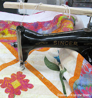 Freemotion quilting using a vintage 15-91 Singer Sewing machine