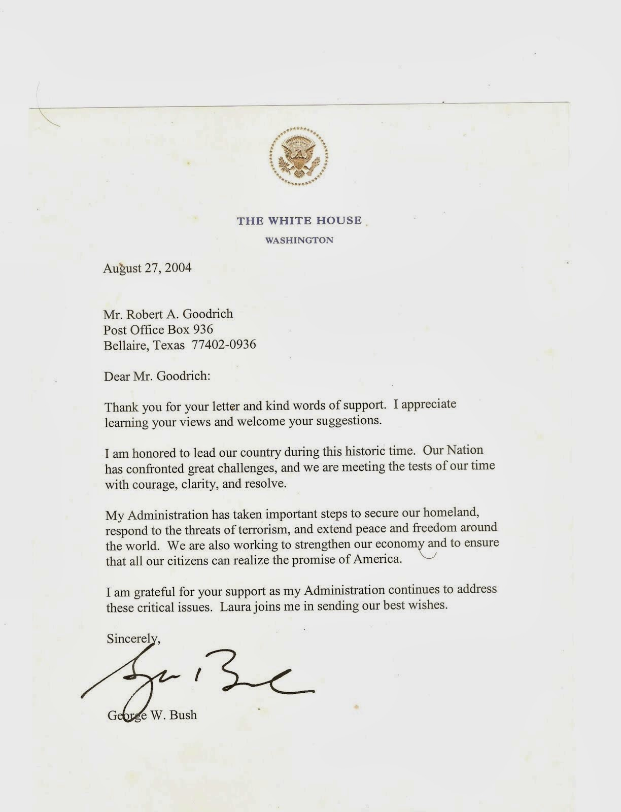 Carta del Ex-Presidente George W. Bush