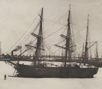 Scandinavische bark tijdens de winter 1890-1891 in het Amerikadok