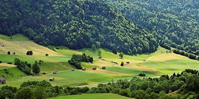 Summer rural landscape in Massif des Bauges Natural Park