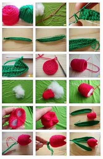 Tulipanes de Crochet como hacerlos Para el Dia de la Madre
