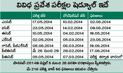 AP All Entrance Exams Schedule Time Table 2014