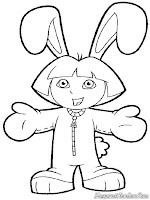 Gambar Dora Memakai Kostum Kelinci Untuk Diwarnai