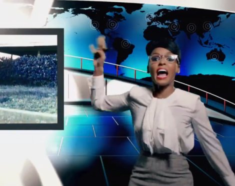 Janelle Monae News Reporter in Dance Apocalyptic Music Video