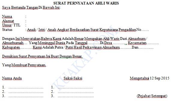 Contoh Surat Pernyataan Kuasa Ahli Waris Beserta Format Keteranganya