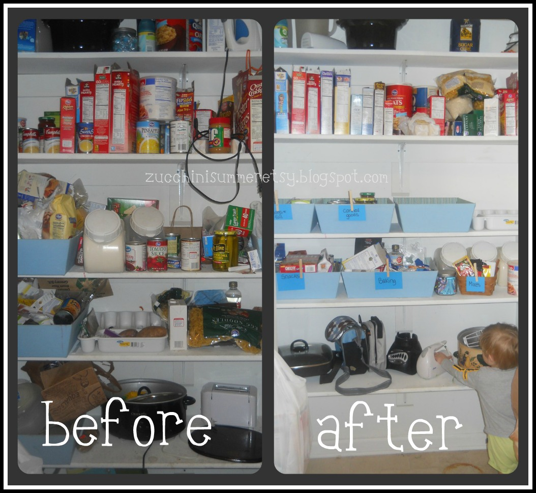 Organized Kitchen Before And After: Zucchini Summer: $0 Pantry Organization