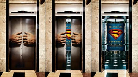 advertising in elevators, Superman