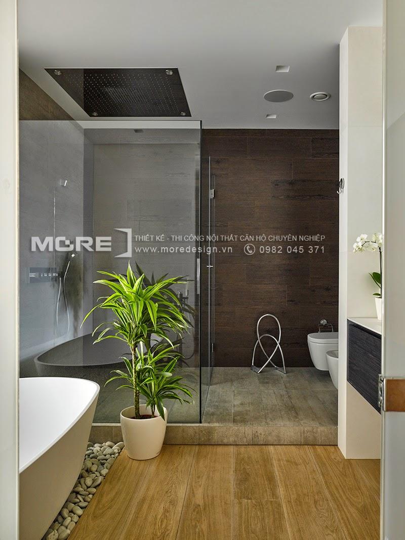 Không gian phòng tắm sang trọng và tuyệt đẹp với thiết kế đơn giản
