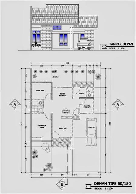 sktesa denah rumah type 60 dan ukurannya
