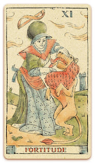Fortitude card - Colored illustration - Curio & Co Tarot of Musterberg - In the spirit of the Marseille tarot - major arcana - design and illustration by Cesare Asaro - Curio & Co. (Curio and Co. OG - www.curioandco.com)