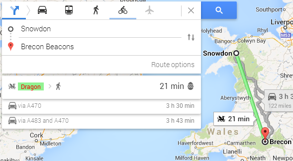 Easter Eggs for Google Maps UK Directions on