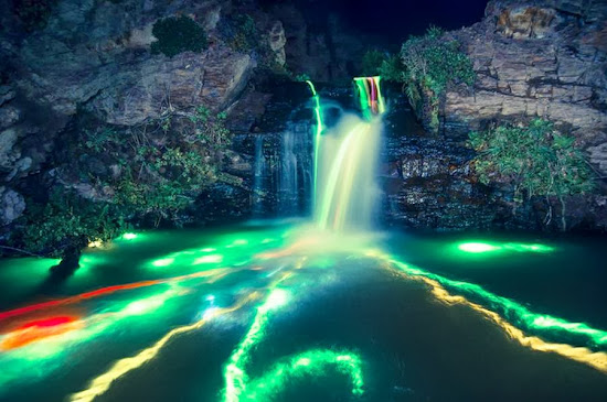 Neon Waterfalls from around the world