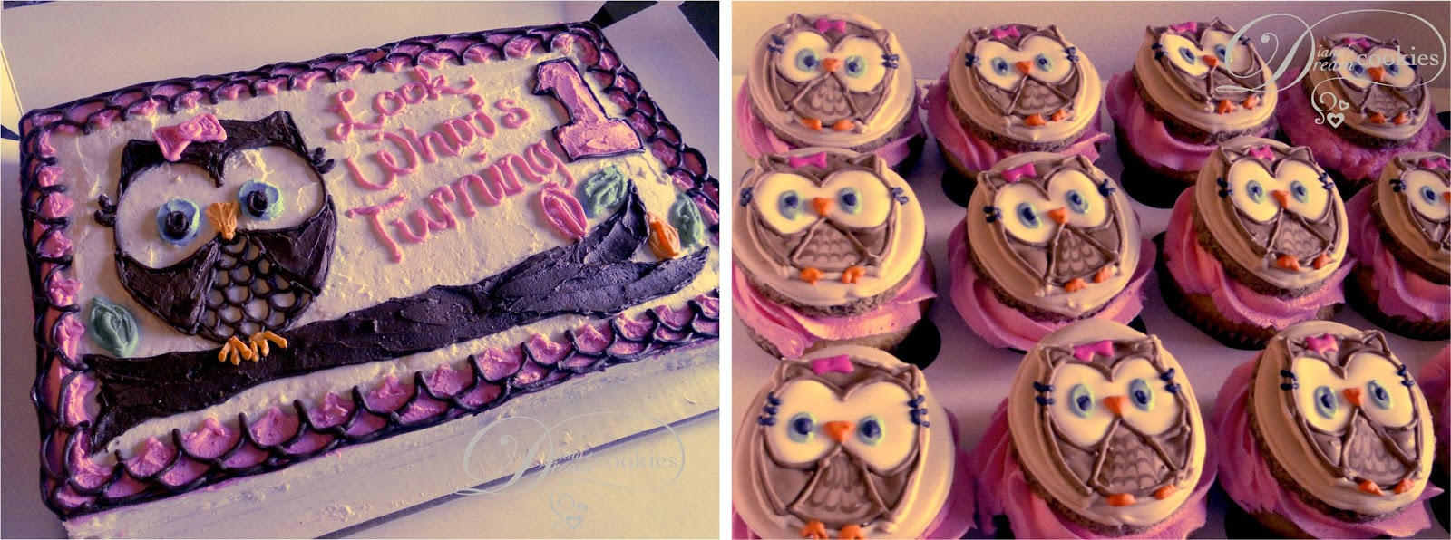 Owl Birthday Cake And Cupcakes With Sugar Cookie Toppers