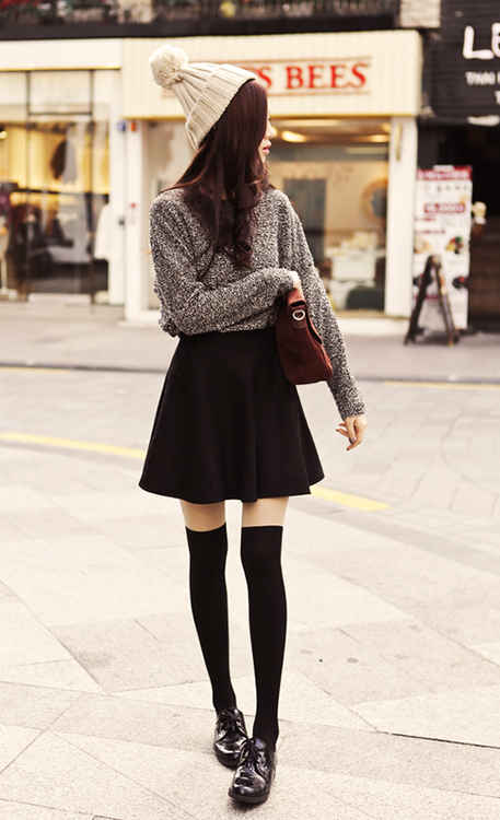 Woolen hat, sweater, black skirt and long socks for ladies