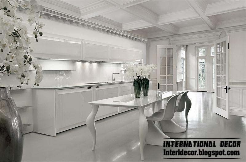 Contemporary white kitchen designs and ideas art deco kitchen with coffered ceiling
