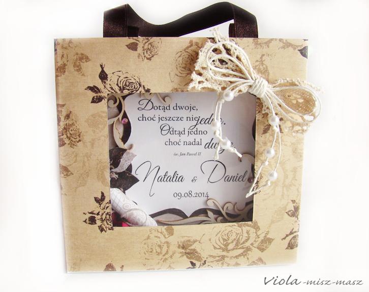 czekoladowa kartka ślubna