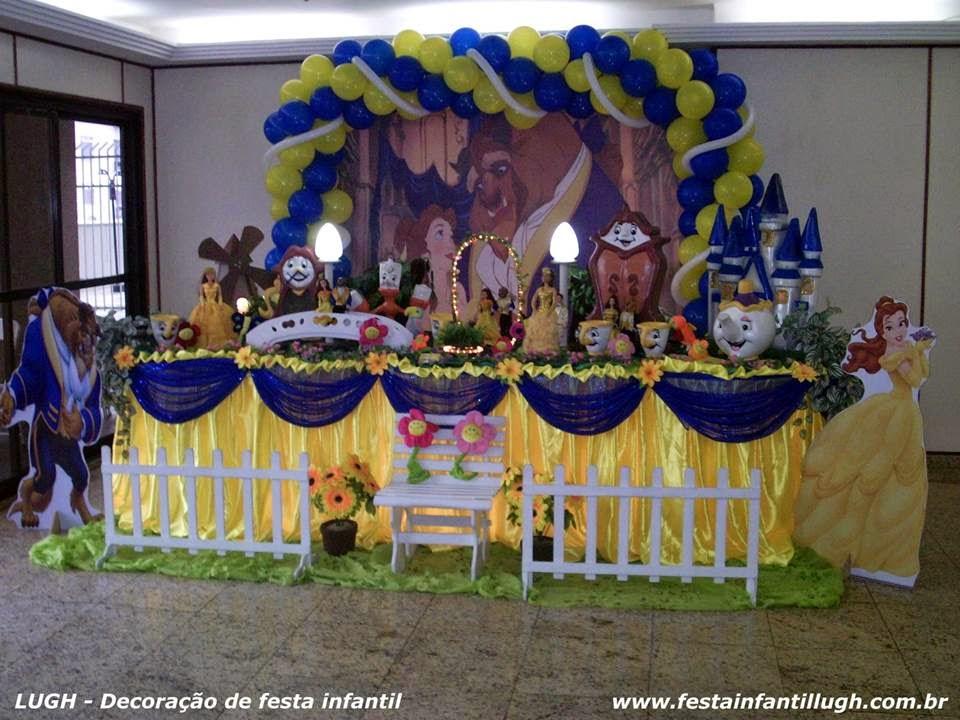 decoração de festa infantil com o tema A Bela e a Fera