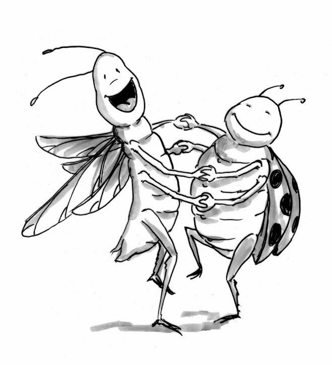 Kinderbuchillustration, Cartoon, funny, Insekten, niedlich, süß, Strichzeichnung