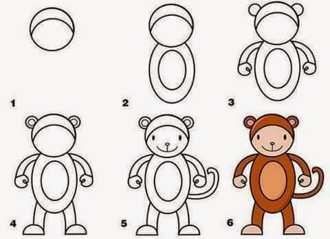 Learn to draw a monkey for kids anak
