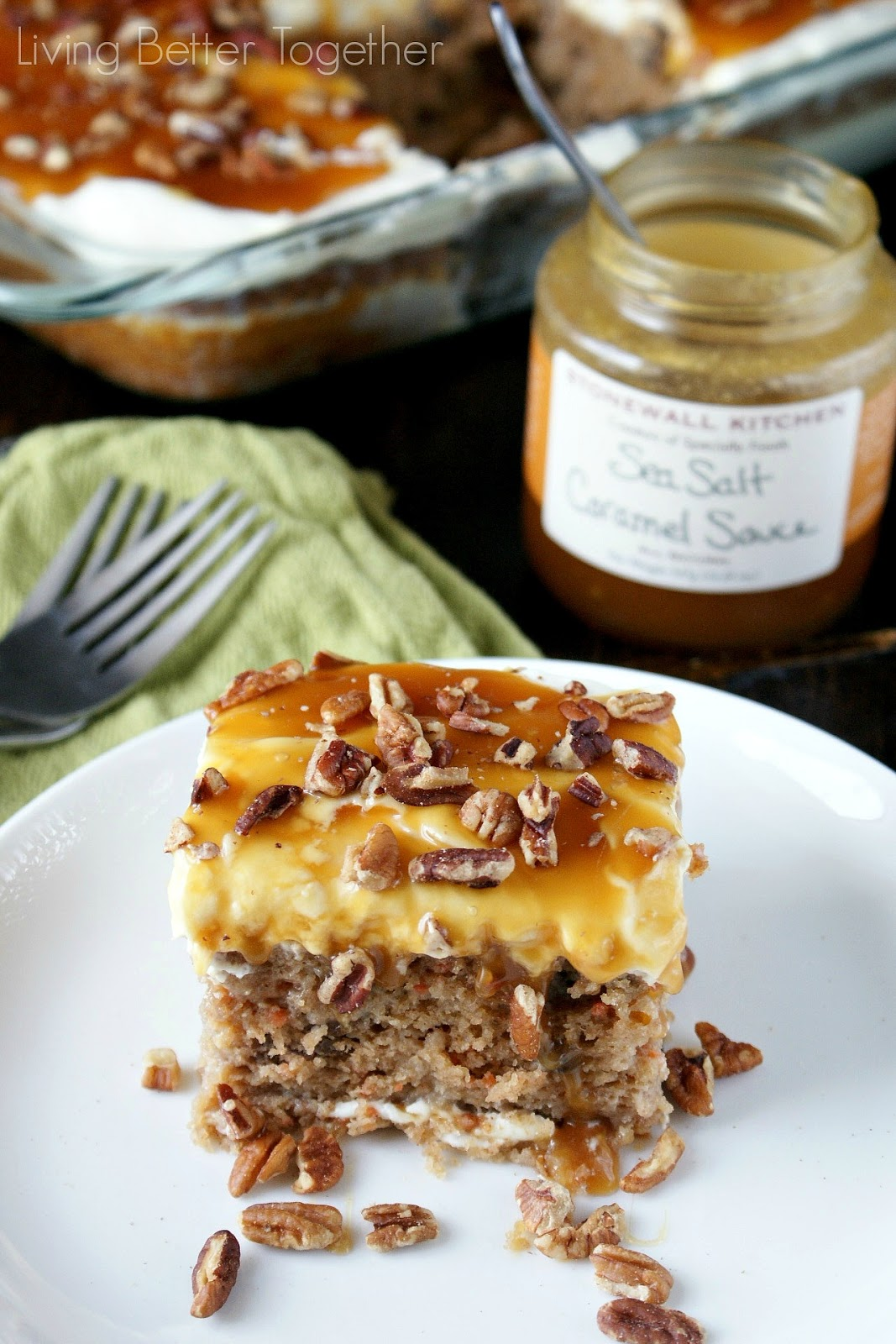 Sea Salt Caramel Carrot Cake Poke Cake www.livingbettertogether.com