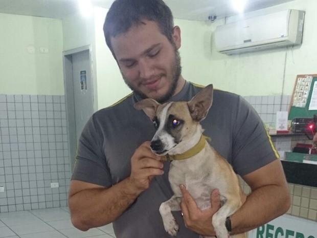 Cadela será levada para um abrigo para animais em Teresina (Foto: Juliana Paz/Arquivo pessoal)