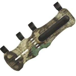 Camo style Arm Guard used for safety while using bows for hunters