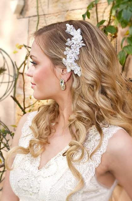 "Bridal Lace Headpiece - ""Adele Headpiece"""