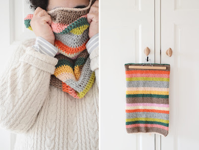 free crochet striped cowl pattern