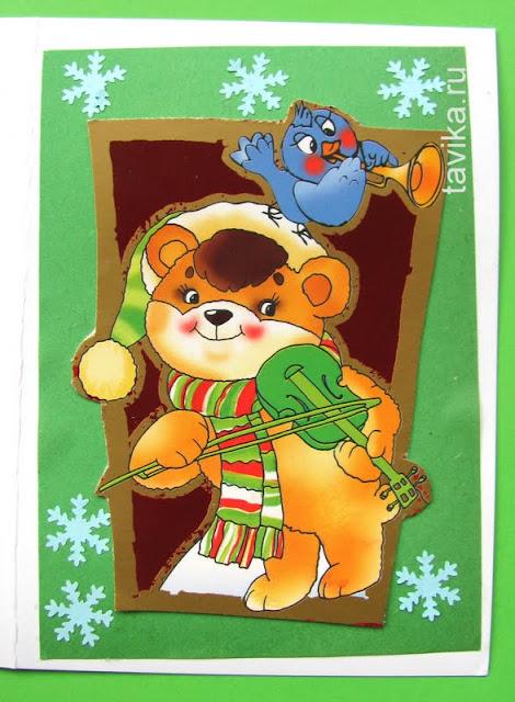 открытка к Новому году - детская поделка