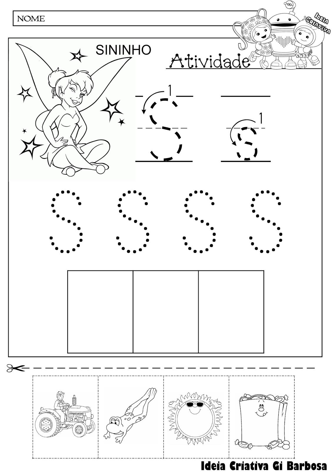 Atividade letra S pontilhado com seta e corte recorte educativo