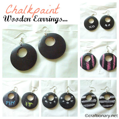 chalk paint wooden earrings