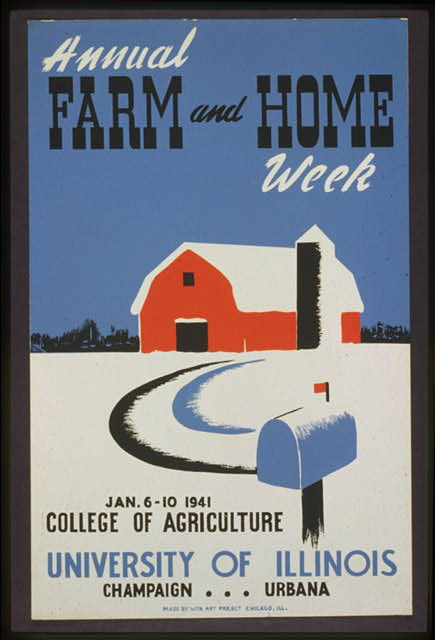 advertising, illinois, agriculture, farm, graphic design, retro prints, classic posters, vintage, vintage posters, Annual Farm and Home Week, College of Agriculture - University of Illinois Vintage Advertising Poster