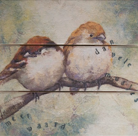 Schilderij op hout Musjes-Mussen Atelier for Hope Doetinchem Bijzondere schilderijen