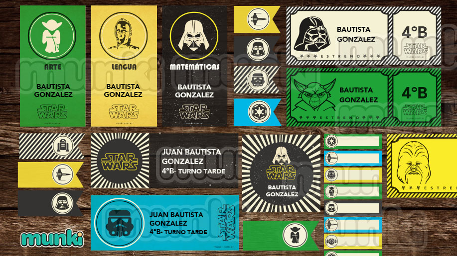 Etiquetas Escolares Star Wars Editables