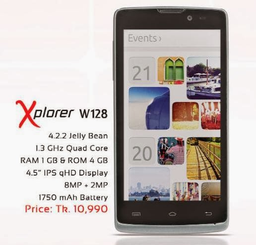 "Symphoni Xplorer W128  Price 10,990 Tk      Operating System: Android 4.2.2 Jelly Bean     4.5"" IPS qHD Capacitive Full Touch     qHD Display (540*960)     Camera:8 MP+2 MP     1.3 GHz Processor (Quad Core)     RAM  1 GB & ROM 4 GB     3G Network,EDGE,WiFi,GPS     Facebook, Android Market(Play Store), Office suite     GPS, G sensor, Light & Proximity Sensor, Micro SIM support ,WiFi-direct     Key Features    Description  OS    4.2.2 Jelly Bean  Display Size    4.5"" IPS qHD Full Touch  Camera    8MP Primary + 2MP Secondary  Multimedia    MP3, MP4, FM  Data Services    Wi-Fi 802.11, Wi-Fi Hotspot, HSDPA:7.2Mbps; HSPUA: 5.76Mbps Bluetooth v4.0 SMS(Threaded view), MMS, Email  Phonebook Entries    Unlimited  Multitouch    Yes (5 finger)  Technical Features    Description  Built in Java Application    Facebook, Android Market(Play Store), Office suite  Display Resolution    qHD (540*960)  CPU    1.3 GHz (Quad Core)  GPU    Mali 400  Internal Memory    RAM 1GB (User Available RAM 971 MB)  Storage    ROM Total 4GB(User Available ROM 1000 MB), internal SD card 1.27GB Extended up to 32GB  Camera Feature    Flashlight, continuous shot, Zoom  Battery    1750 mAh Lithium Ion Battery  WLAN    Wi-Fi 802.11, Wi-Fi Hotspot, HSDPA:5.76Mbps; HSUPA: 7.2Mbps  GPS    Yes  Stand by time*    300 Hour(*depend on phone setting, Network)  Talk time    04 Hour(*depend on phone setting, Network)  Audio Player    MP3,WAV,AAC,MIDI  Audio Recorder    Yes  Video Player    mp4,3gp, avi  Video Recorder    3gp. Recording resolution 1088*1920  3.5 mm jack    Yes  Other Features    Description  Dimension    133.2*67.5*10.0 mm  Recorder    Audio, video & call recorder  Bluetooth    Yes  USB Mass storage    Yes  USB Modem    Yes  MMS    Yes  Email    Yes  Built in Applications    Facebook, Android Market(Play Store), Office suite  Special Features    GPS, G sensor, Light & Proximity Sensor, Micro SIM support ,WiFi-direct"