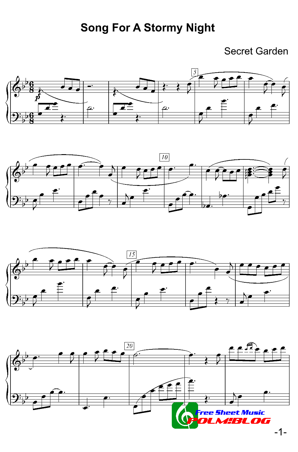 Sleepsong Secret Garden Piano Sheet Music Free Song From