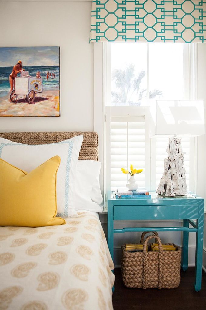 Aqua and Yellow Coastal Bedroom Decor  Via House of Turquoise