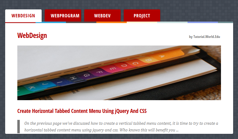 Create Horizontal Tabbed Content Menu Using jQuery And CSS