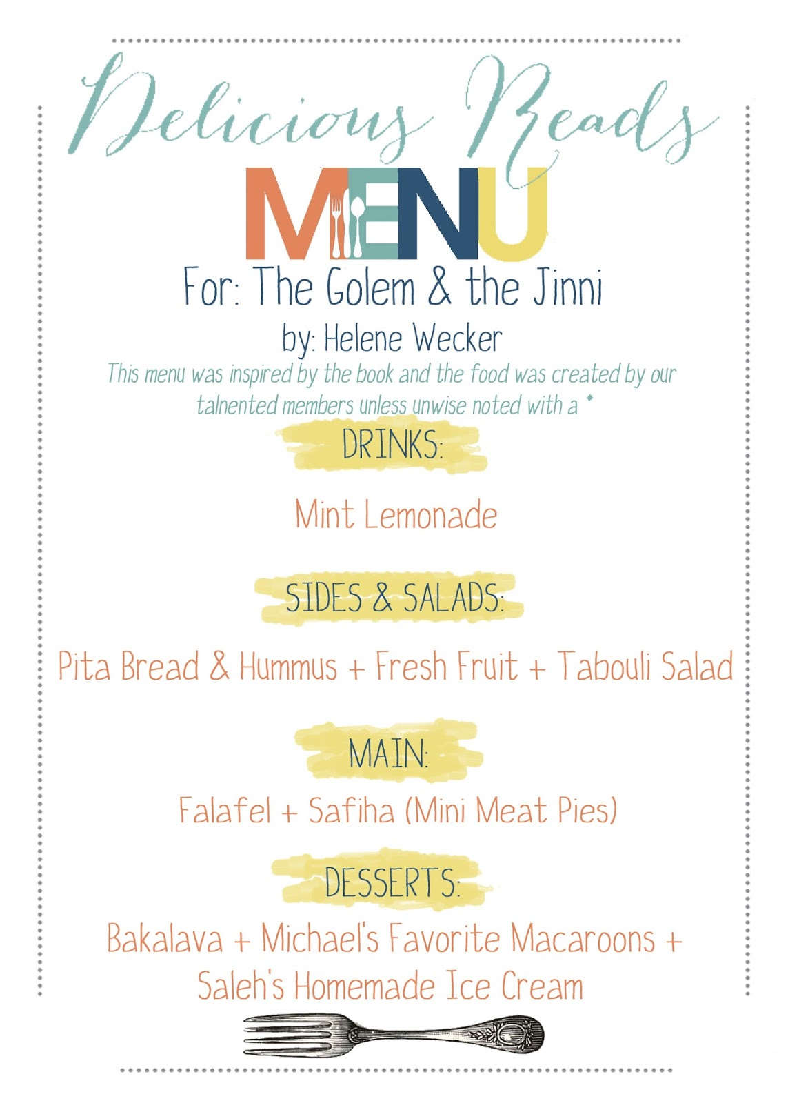 the golem and the jinni book menu
