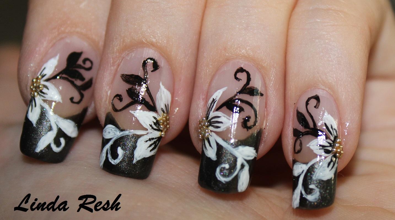 Nail Design Nail Design Flower With Black White Swirls Nail Art