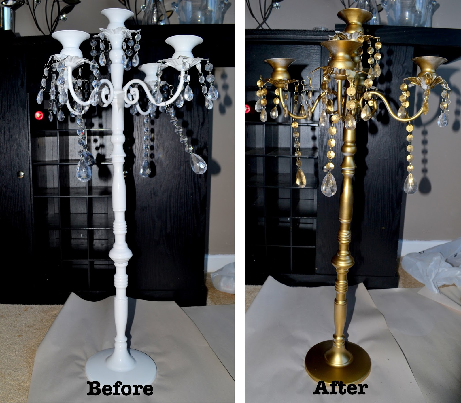 The rose colored aisle diy how to make your own gold candelabra - Build a chandelier ...