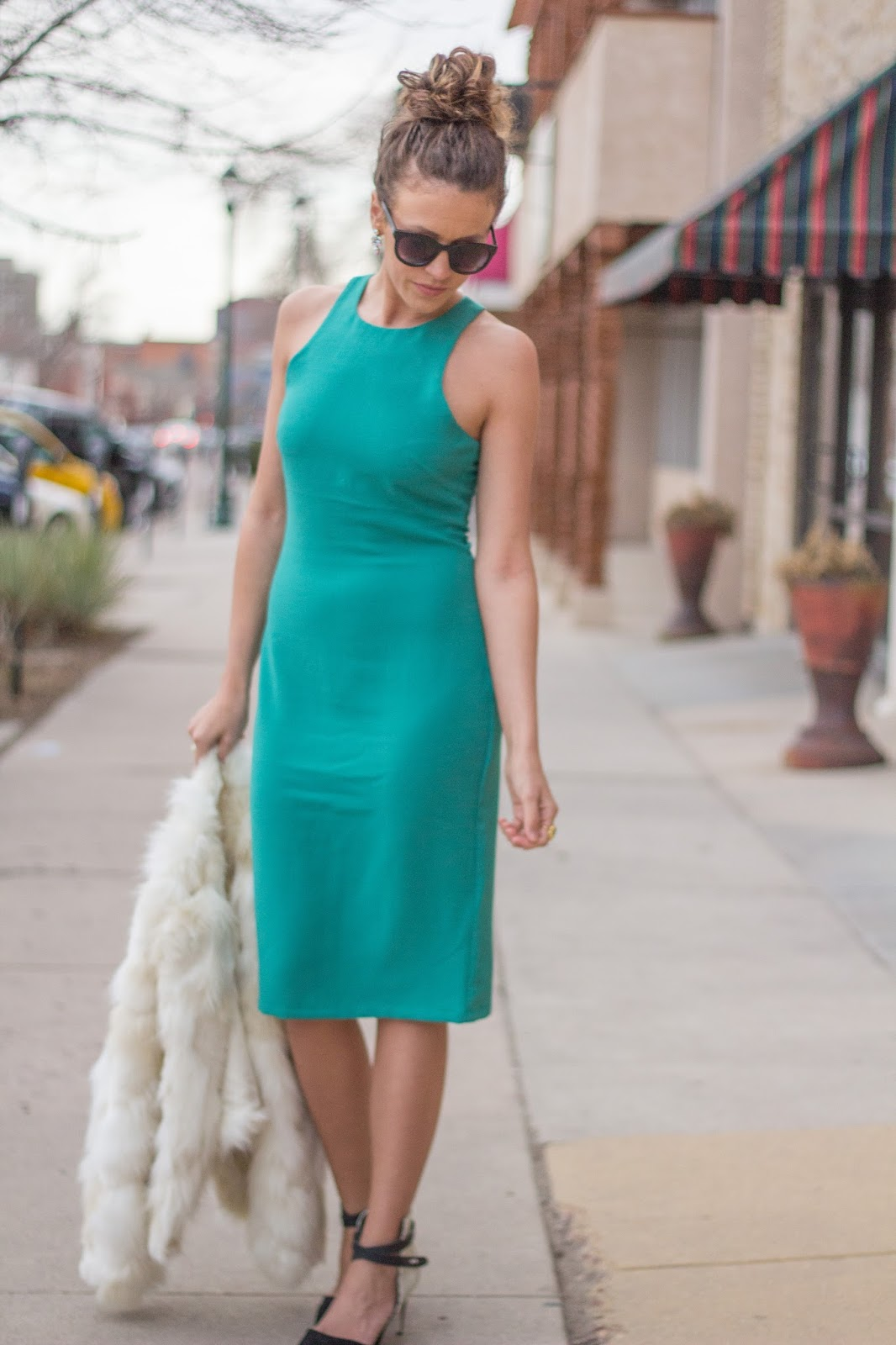 Teal dress black shoes