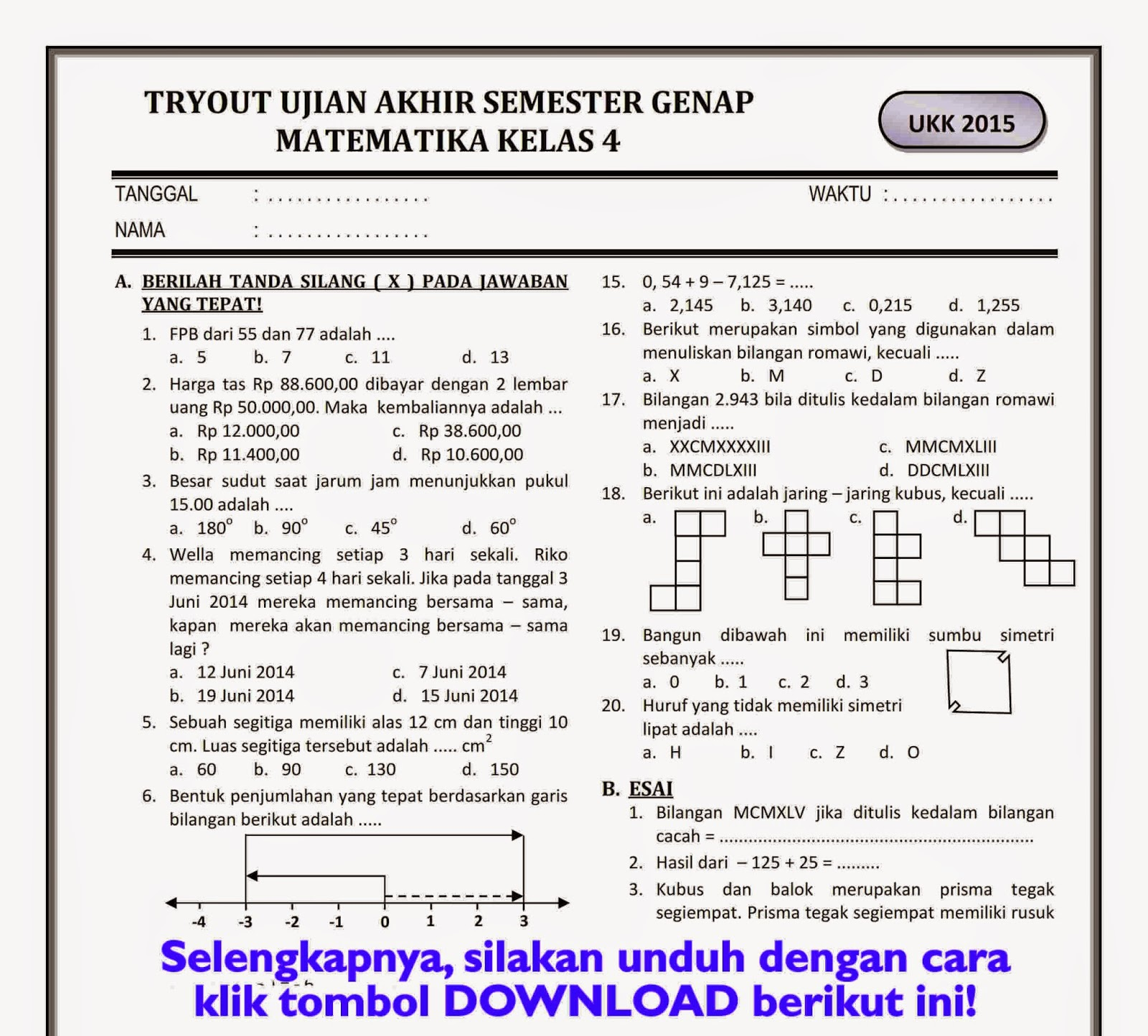 Download Soal Ukk Kelas 4 Sd Semester Genap Part 2 Work Rief Awa Blog Download