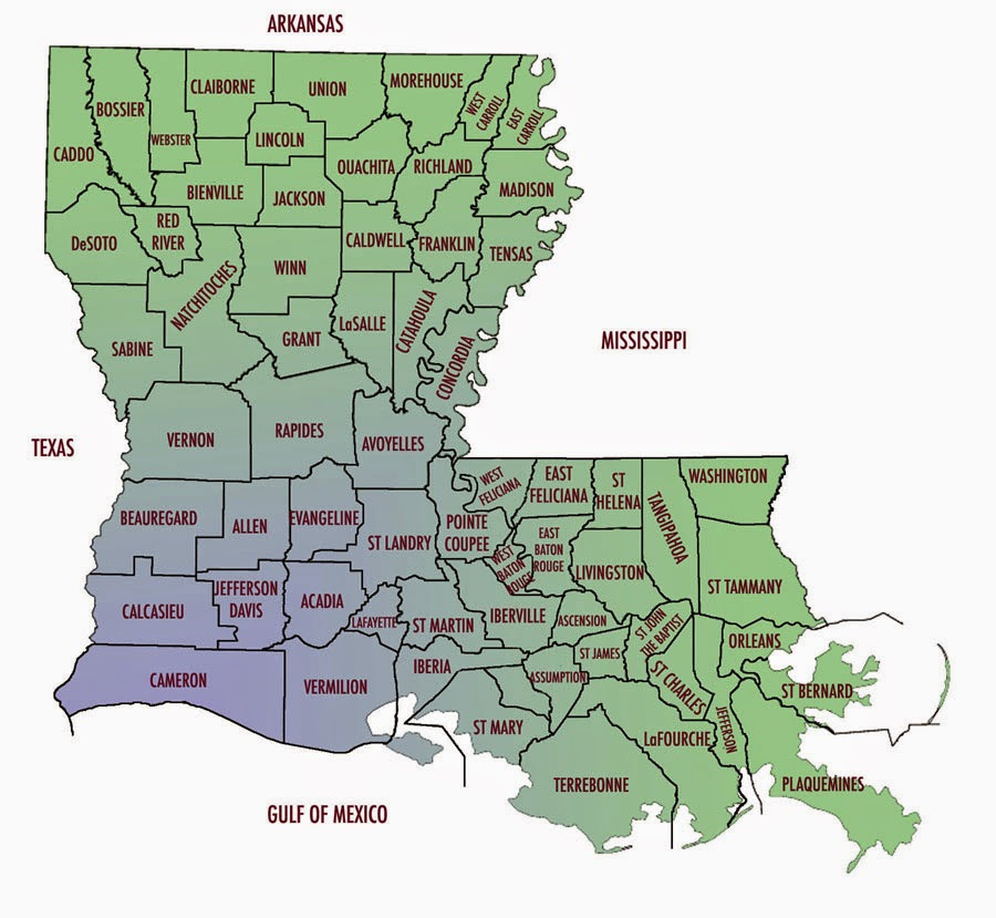 Map of Louisiana parishes